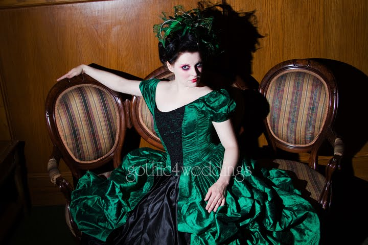 Green Black Gothic Victorian Wedding Gown Handmade Victorian