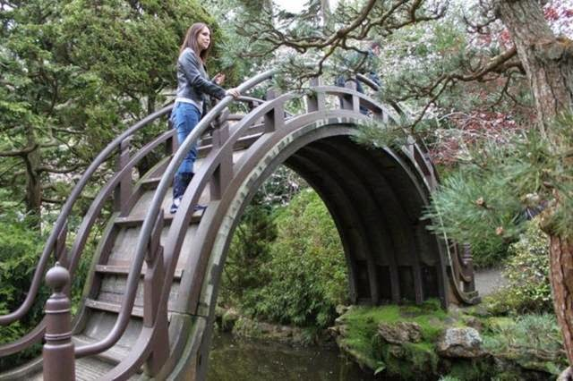 Moon bridges are traditionally constructed so their reflections form perfect circles. This one in San Francisco features wooden beams to enable climbing, but it's still really steep.