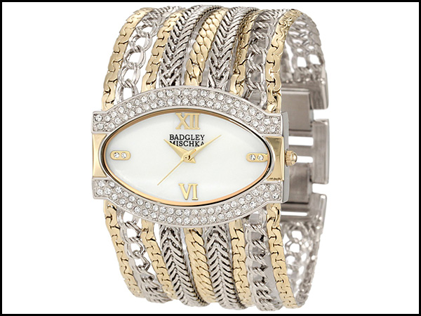 Badgley-Mischka-Women's-BA-1203MPTT-Swarovski-Crystals-Accented-Two-Tone-Chain-Multi-Chain-Bracelet-Watch