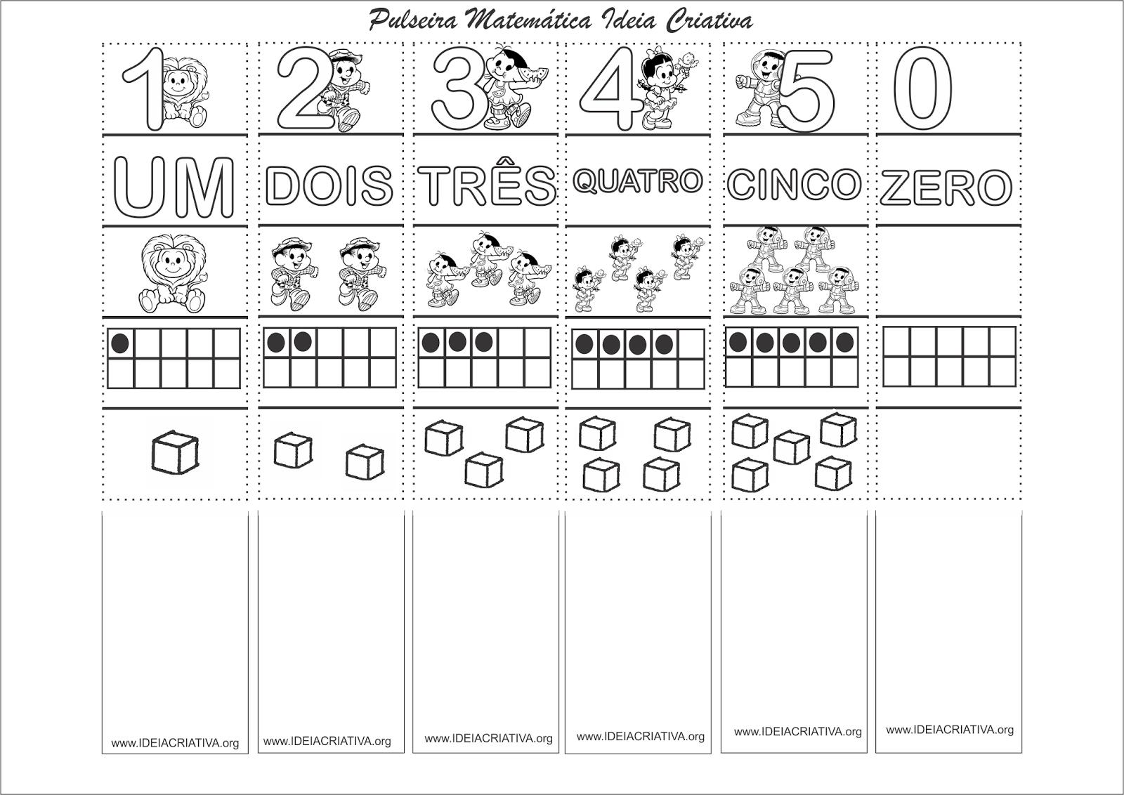 Pulseira Matemática Numerais 0 a 5 com a Turma da Mônica