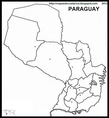 mapa mudo grande de la organización política de PARAGUAY
