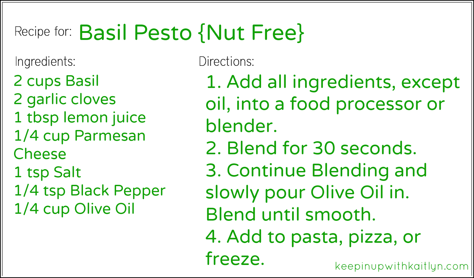Basil Pesto Recipe Card