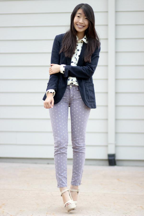 polka dot skinny jeans blazer outfit