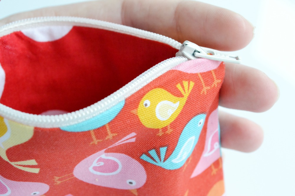 zipped pouch bag handmade christmas gift bird fabric