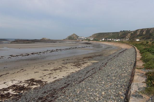 View along the seashore at St Ouen's Bay