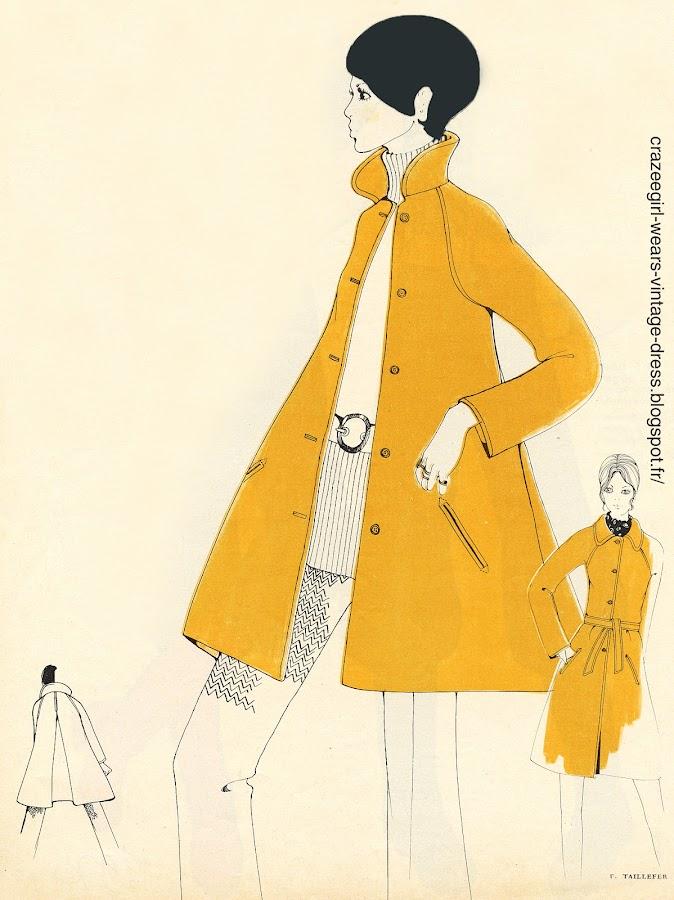 vintage diy sew coat swing aline trapeze manteau couture mod twiggy 1960 1970 60s 70s