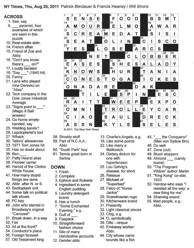 The New York Times Crossword in Gothic: August 2011