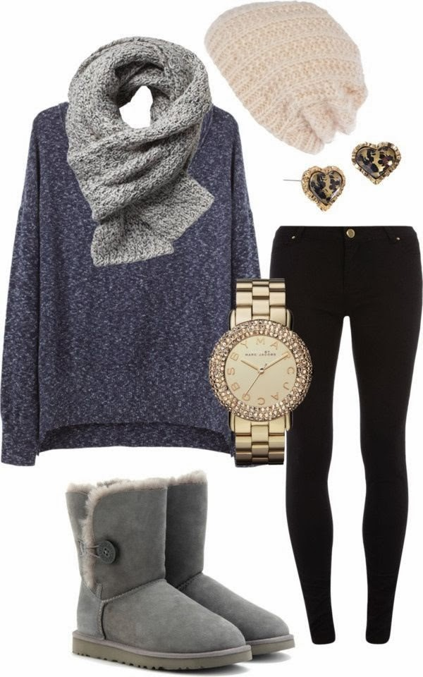 Beautiful Navy Blue Sweater with Black Jeans, Pale Pink Hat, Golden Fashionable Watch, Grey Circle Scarf and Amazing Ugg Boots