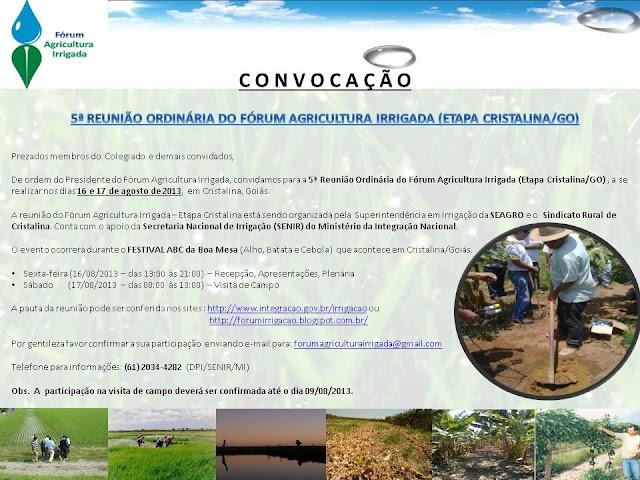 Convocação: 5ª Reunião Ordinária do Fórum Agricultura Irrigada (Etapa Cristalina/GO)