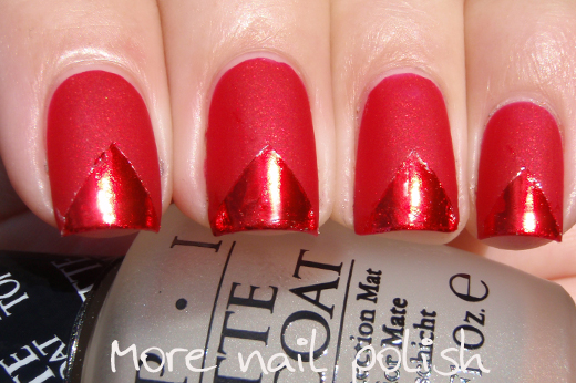 The Above Photos Were Taken In Full Sun So You Can Really See How Matte Finish Is On Nail And Also Shiny Red Foil