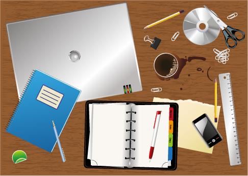 Escritorio y elementos de escritorio - vector