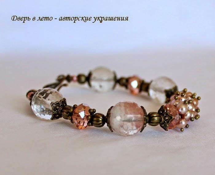 розовый браслет, браслет из натуральных камней