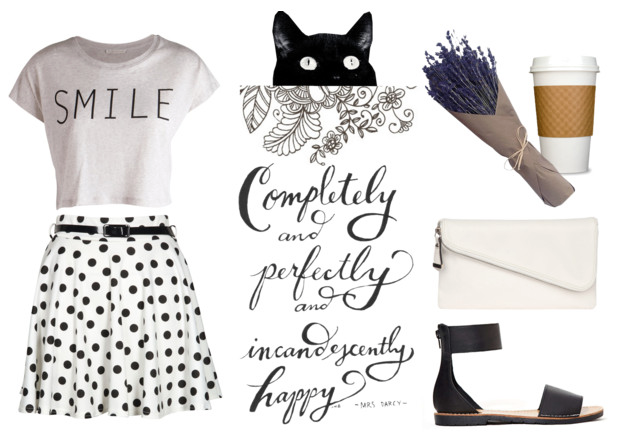 Polk-a-dot outfit inspiration from @faitboum on Polyvore