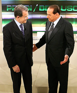 Silvio Berlusconi and Romano Prodi on TV