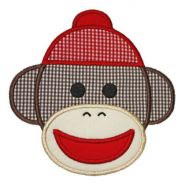 Sock Monkey Face Applique
