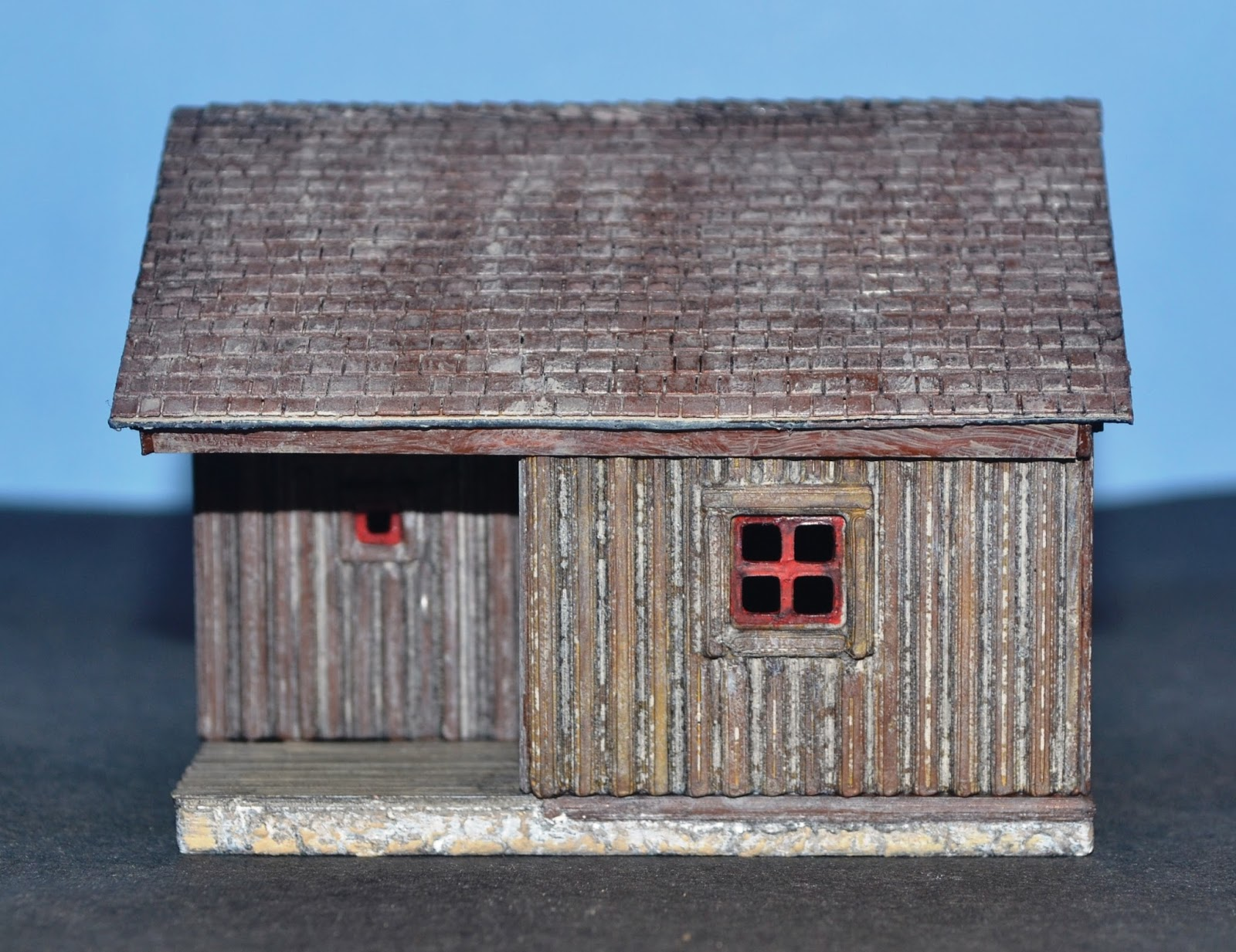 Nirvana valley model railroad log slab siding cabin for Log slab siding