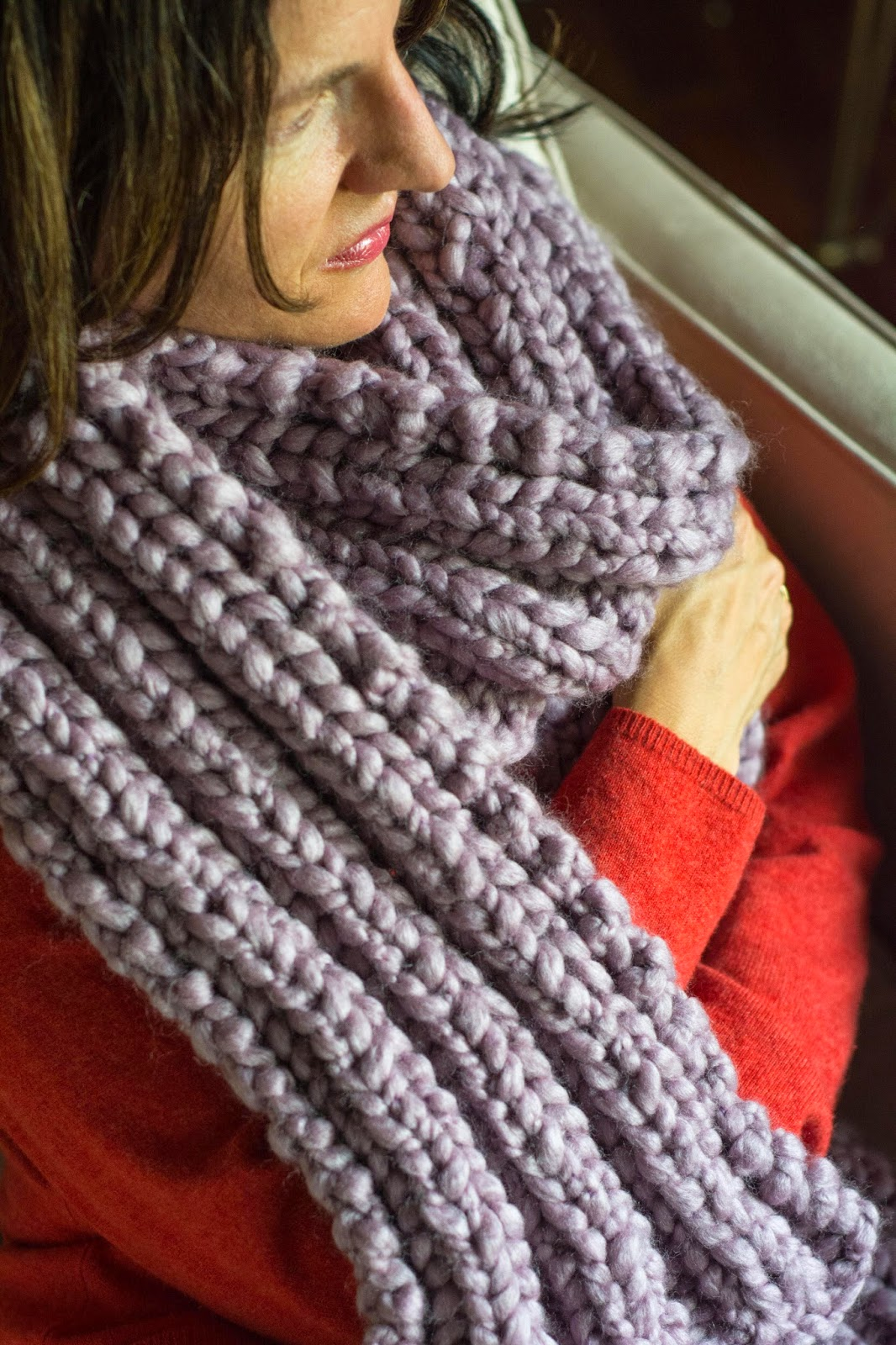 Knitting Patterns Ribbed Scarf : Aesthetic Nest: Knitting: Ribbed Knit Maxi Scarf in Pastel ...