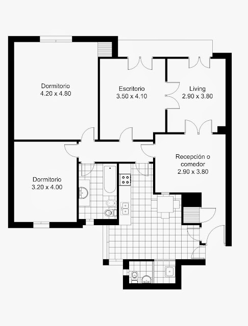 Plg planos departamento en planta con indicaci n de for Planta arquitectonica con medidas