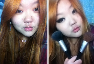 antes e depois smoke gyaru make up