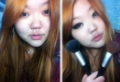 antes e depois smoke gyaru make up