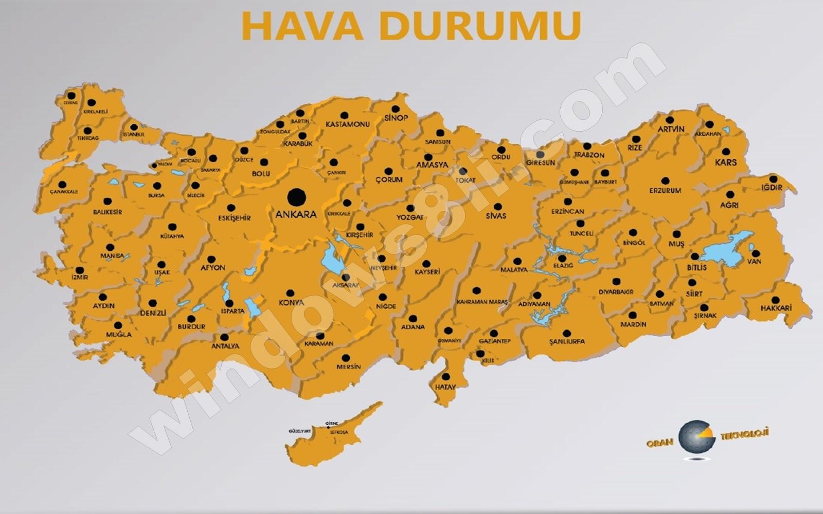 Türkiye illerinin 6 günlük hava durumu uygulaması oran hava