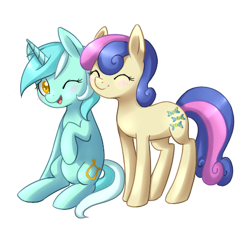 Lyra Heartstrings is a unicorn pony who frequently appears in the background and occasionally in Sweetie Drops or Bon Bon, an Earth pony with a beige coat, pigment blue mane with a rose pink