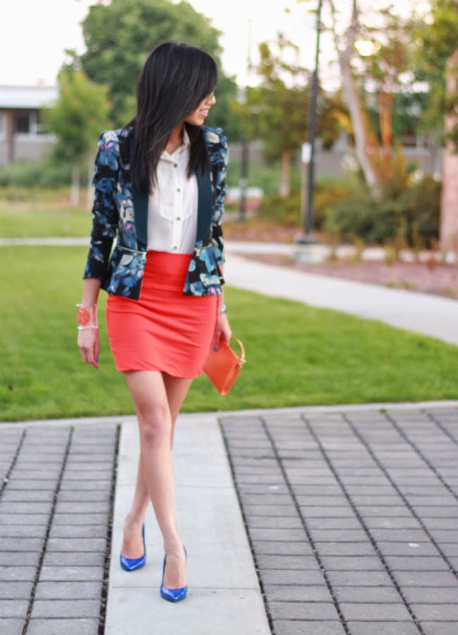 watercolor bright florals short mini skirt