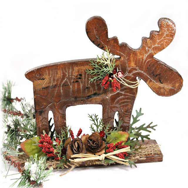 Scrap escape holiday home decor wooden moose with blitsy