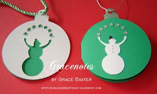 Christmas tags, Juggling snowmen, by Grace Baxter
