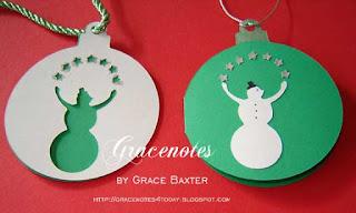 Christmas tags, Juggling snowmen, by Grace Baxter