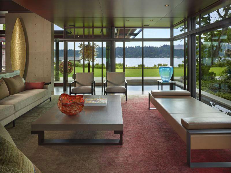 Lake Washington Shores Pavilion House Blends Cement Steel And