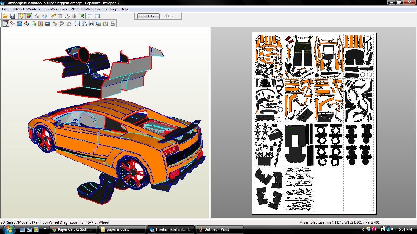 Lamborghini Gallardo Super Leggera Papercraft Paper Super Cars