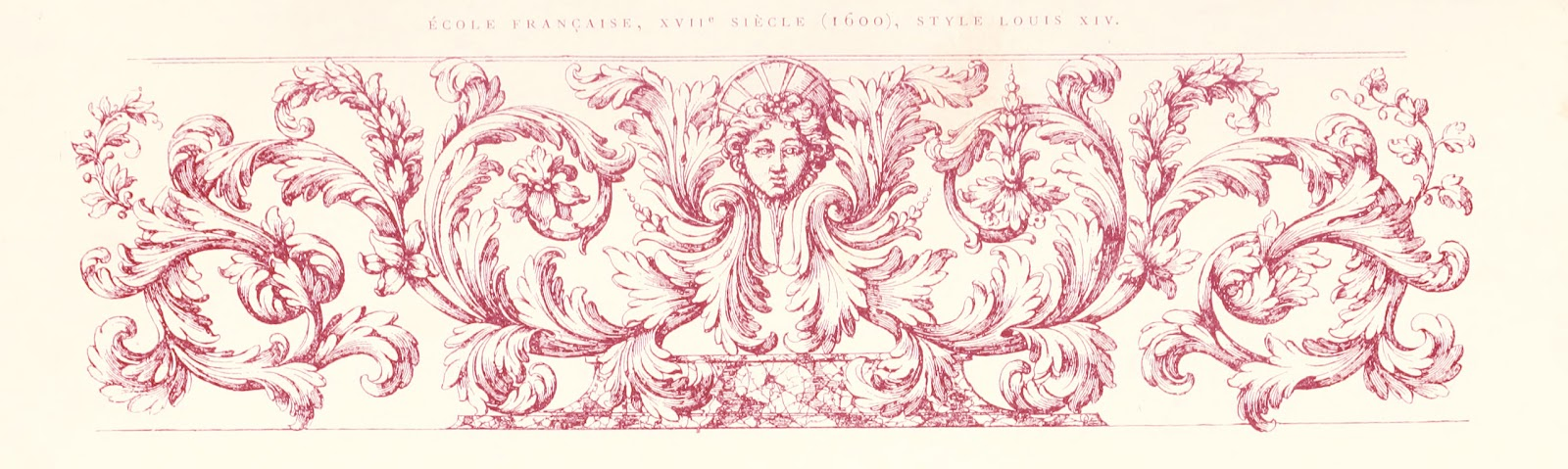 Vintage Ephemera Engraving French Decorative Floral