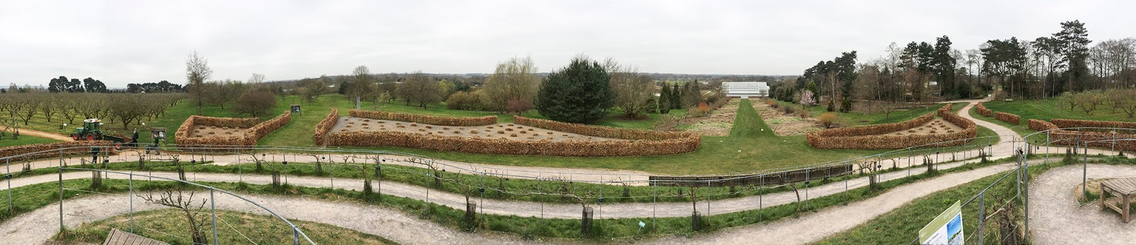 Panorama from the Fruit Mound.  RHS Garden Wisley, 11 March 2014.