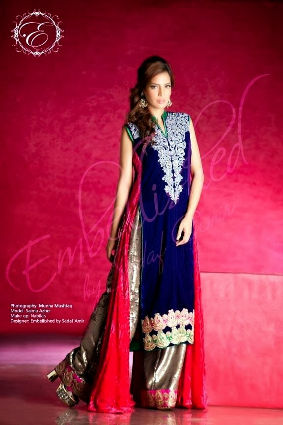 EmbroideredPartyWearDresses2014 wwwfashionhuntworldblogspotcom 07 - Embroidered Party Wear Collection 2014 By Sadaf Amir