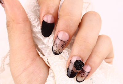 Sexy Cute See-Through Rose Nail Art