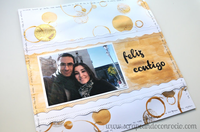 Layout scrapbooking felices juntos mix media