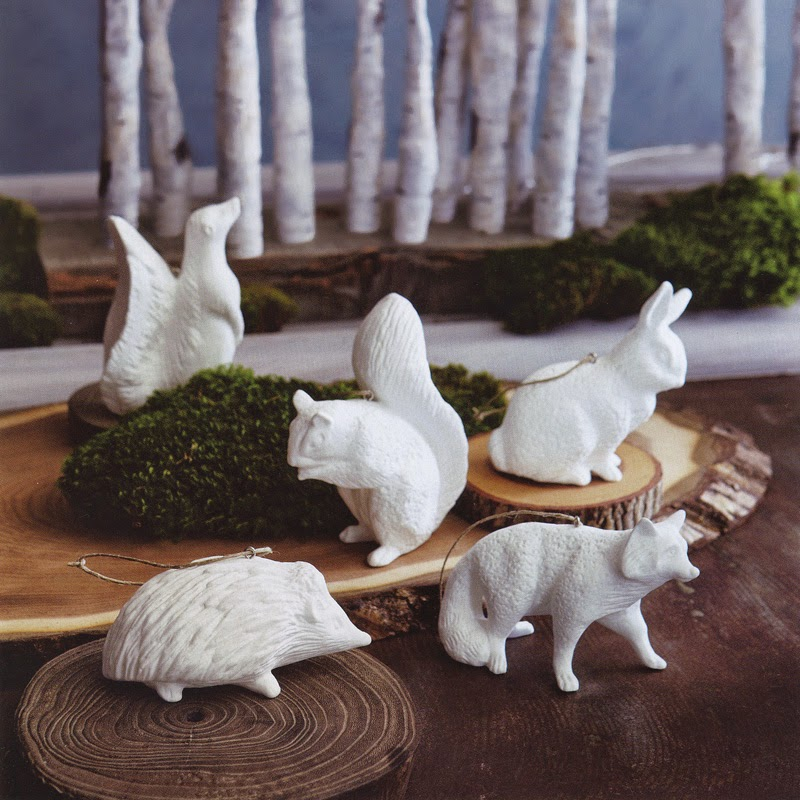 Christmas White 5-Piece Porcelain Animal Tree Ornaments - Ornaments |  modern design by moderndesign.org - Christmas White 5-Piece Porcelain Animal Tree Ornaments - Ornaments