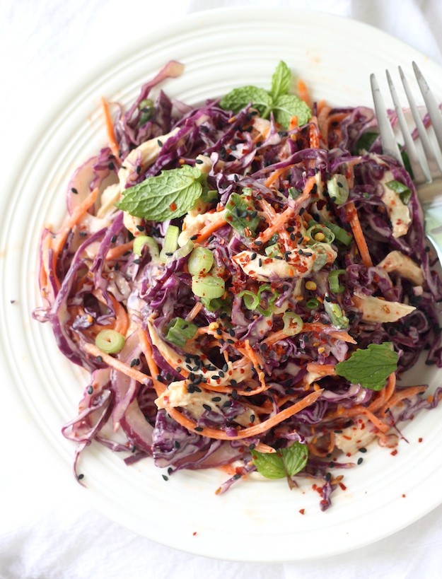 Red Cabbage Salad with Spicy Miso Dressing recipe by SeasonWithSpice.com