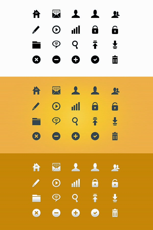 20 Pixel Perfect Glyph Icons PSD