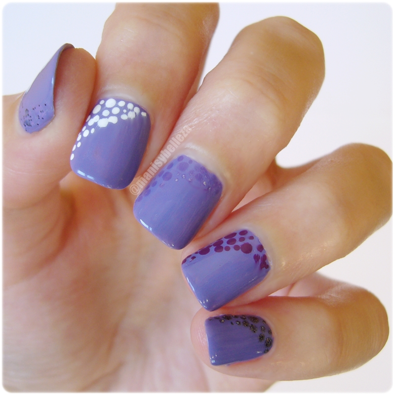 Nail art fácil morado Uñas decoradas con puntos degradado