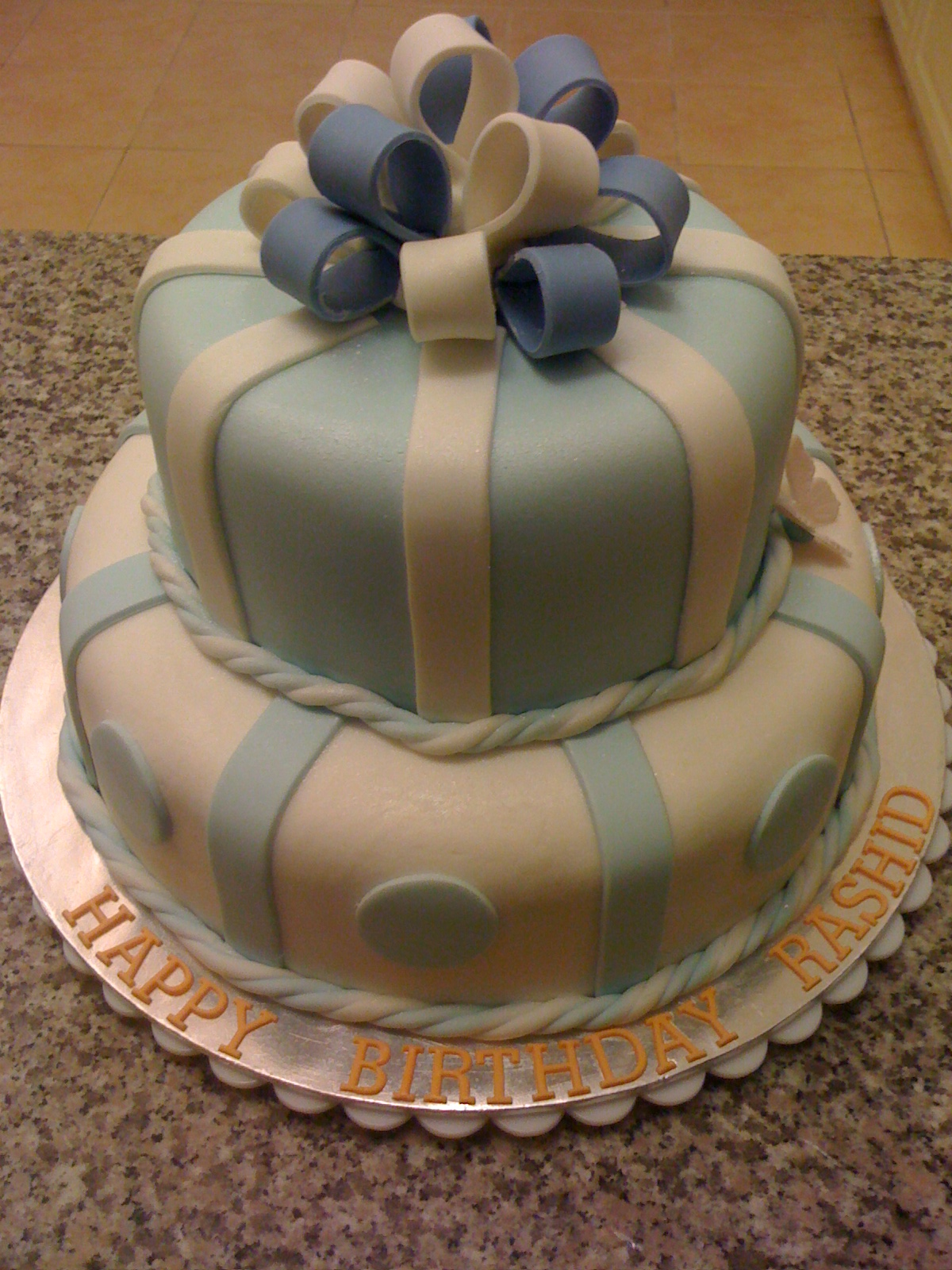 CAKE CUPBOARD 2 Tier Birthday cake light blue and white