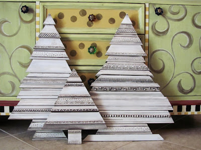 recycled picture frame molding Christmas trees