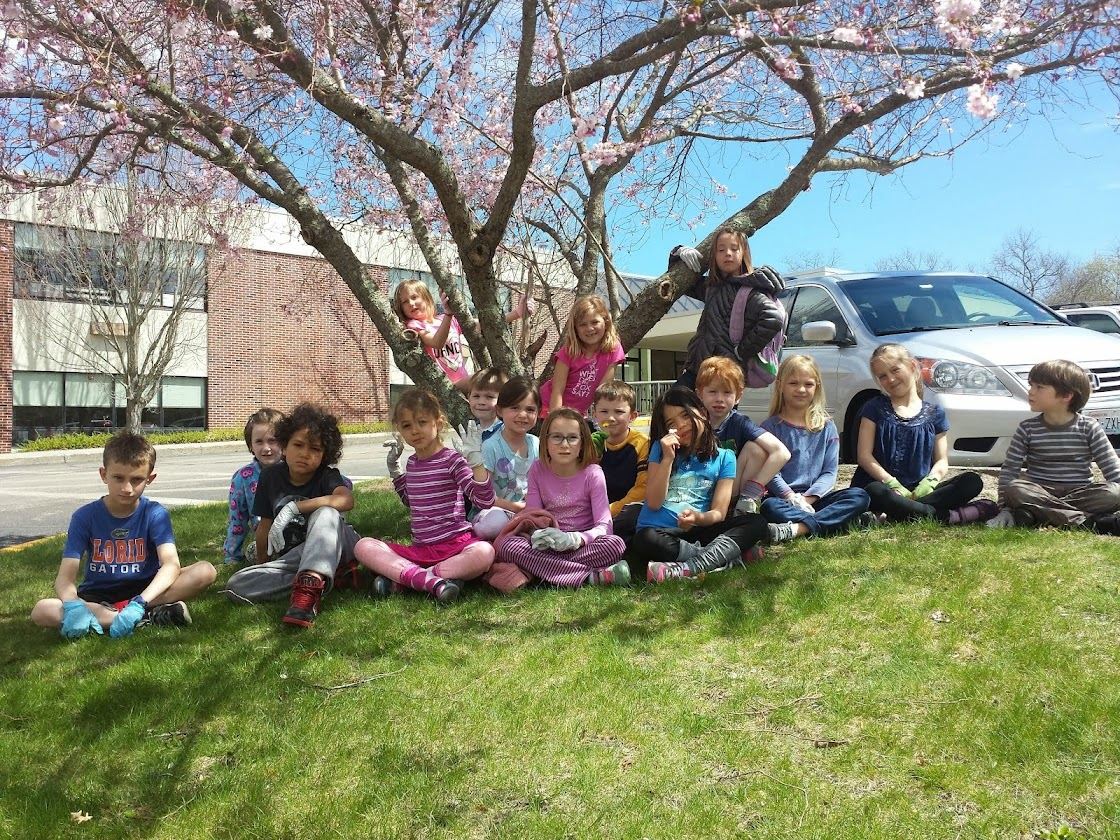 Class picture under the blossoms