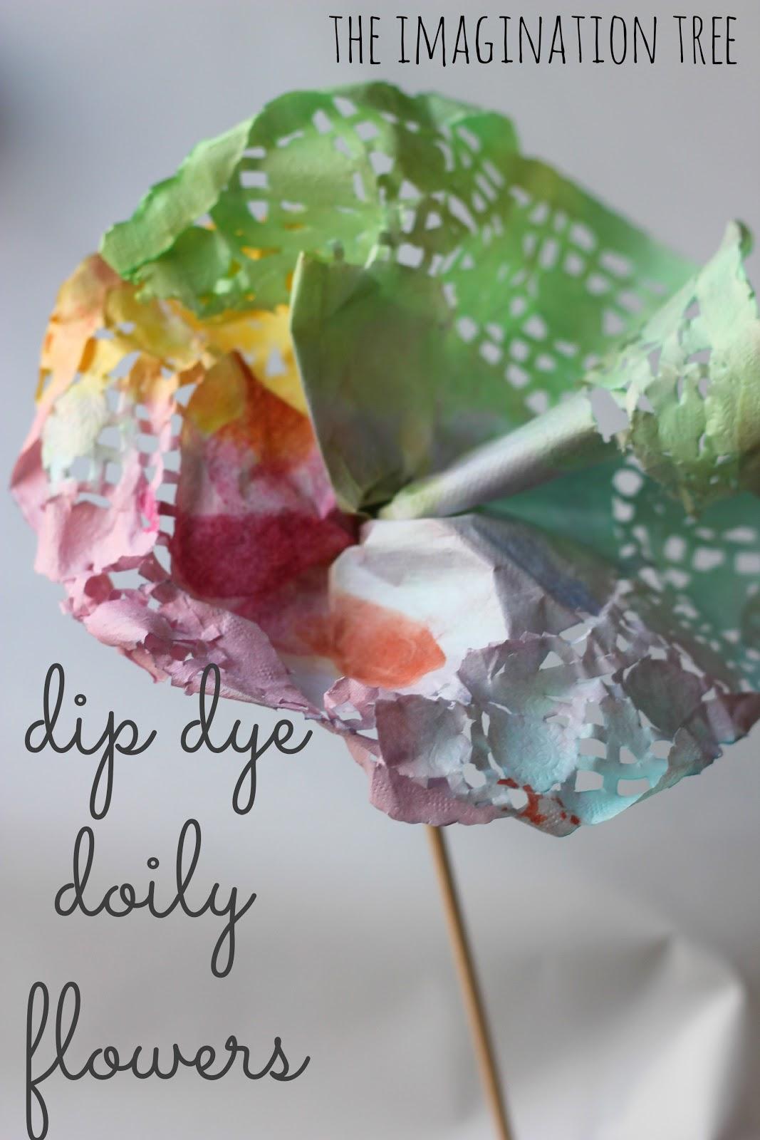 Dip dye doily flowers the imagination tree dip dye doily flowers jeuxipadfo Images