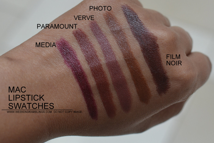 MAC Lipsticks swatches Indian Darker Skin NC45 Makeup Beauty Blog Media Paramount Verve Photo Film Noir