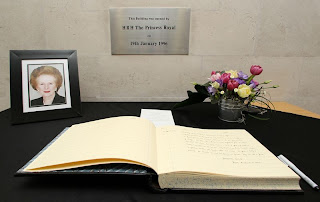 Last Friday, a book of condolence was opened at the British Embassy in Dublin in memory of the late Margaret Thatcher.