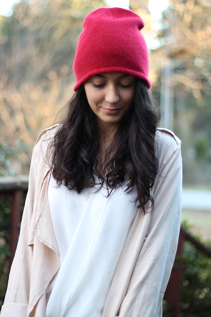 red beanie waterfall trenchcoat