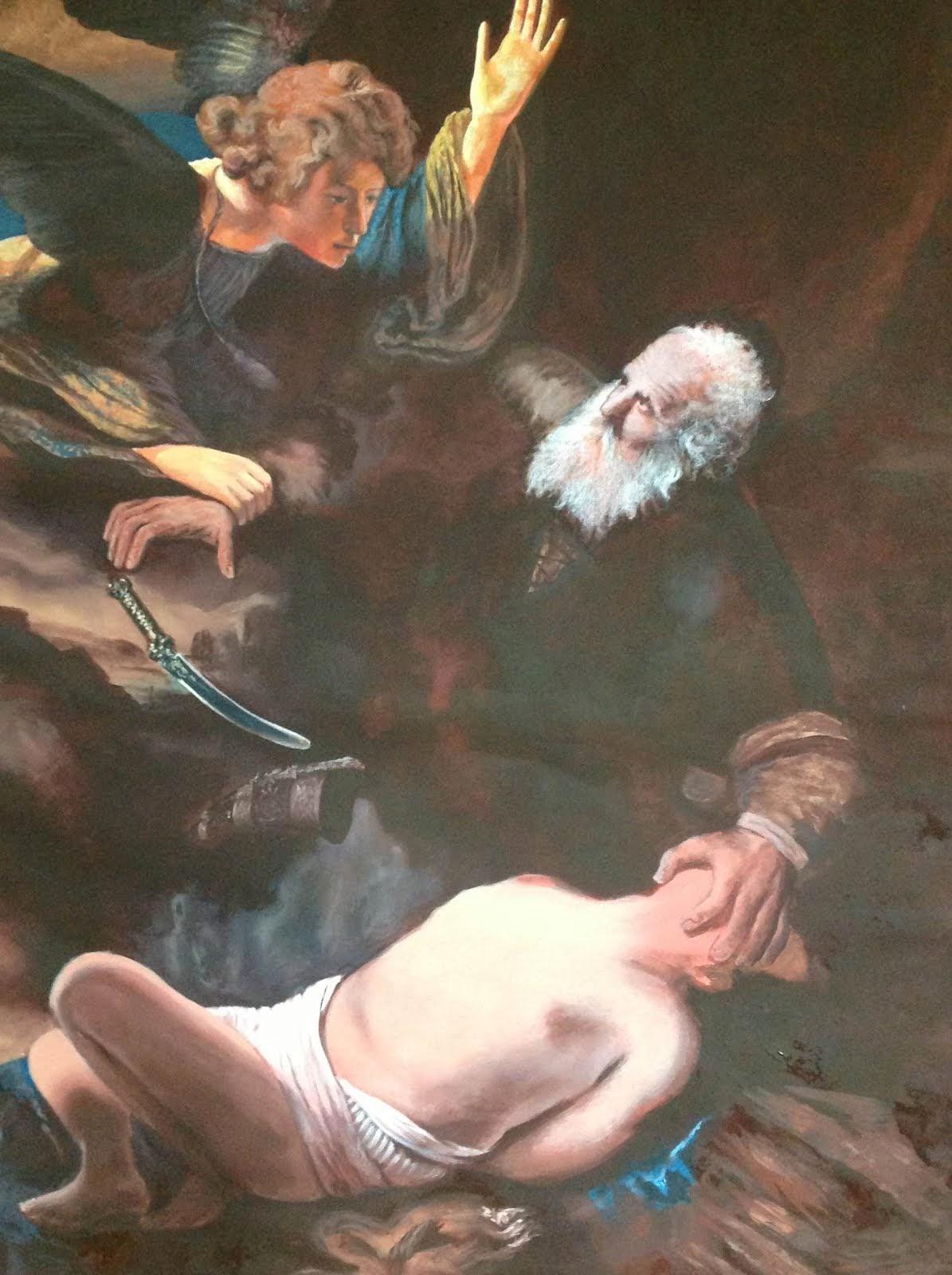 el sacrificio de abraham -rembrandt-detalle- ( oil copy )