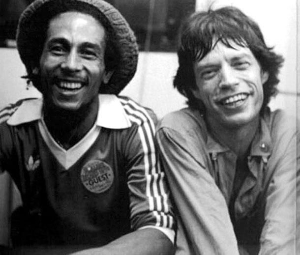 Fotografias a preto e branco de celebridades - Bob Marley e Mick Jagger